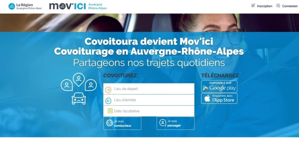 Avec Mov'ici, la Région veut proposer un site de covoiturage sans frais pour l'usager, s'adressant aux particuliers, aux entreprises et aux collectivités.Moteur de recherche du site Mov'ici (version navigateur) © Région Auvergne-Rhône-Alpes