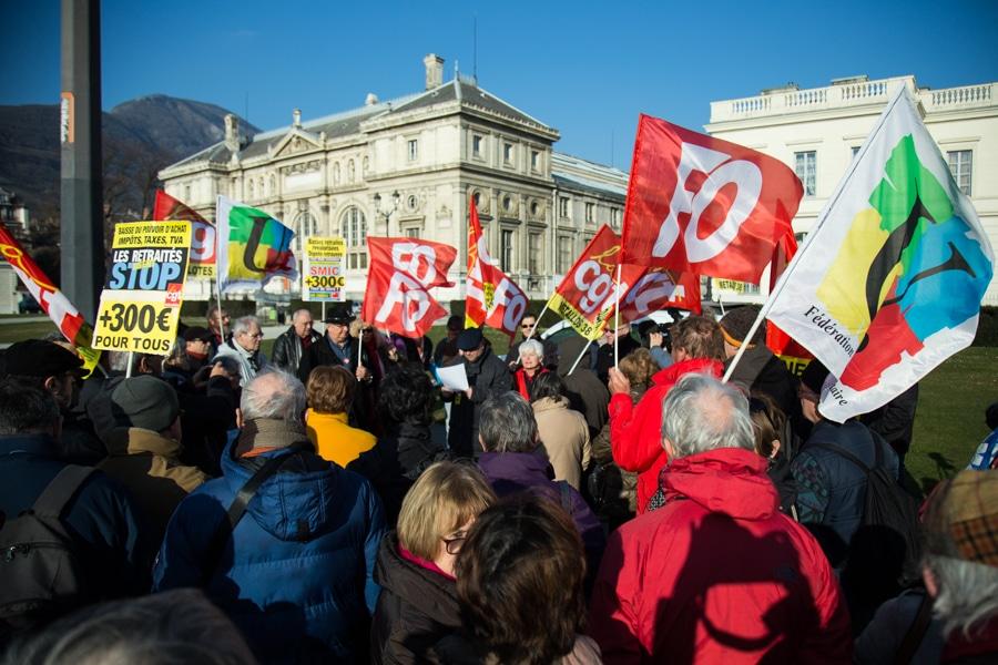 Rassemblement des retraités contre la hausse de la CSG, 9 février 2018. © Yuliya Ruzhechka - Place Gre'net