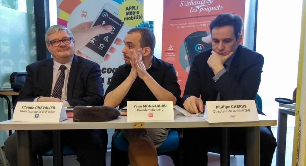 Claude Chevalier, directeur de la Caf Isère, Yann Mongaburu, président du SMTC et Philippe Chervy, directeur de la Semitag © Florent Mathieu - Place Gre'net