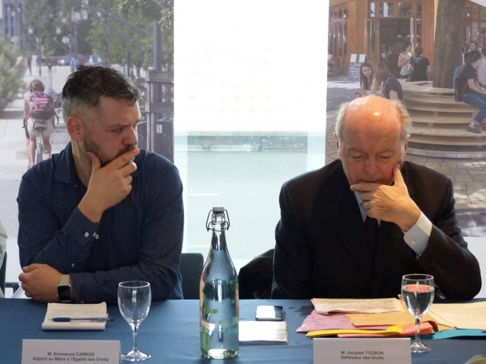 Jacques Toubon aux côtés d'Emmanuel Carroz, adjoint de Grenoble à l'Égalité des droits © Florent Mathieu - Place Gre'net
