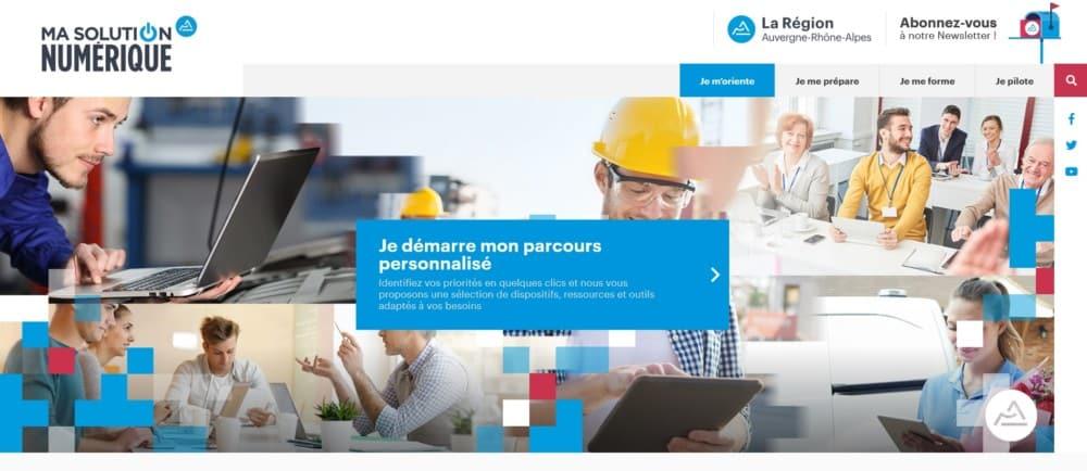 Plateforme « Ma solution numérique » de la Région Auvergne-Rhône-Alpes.