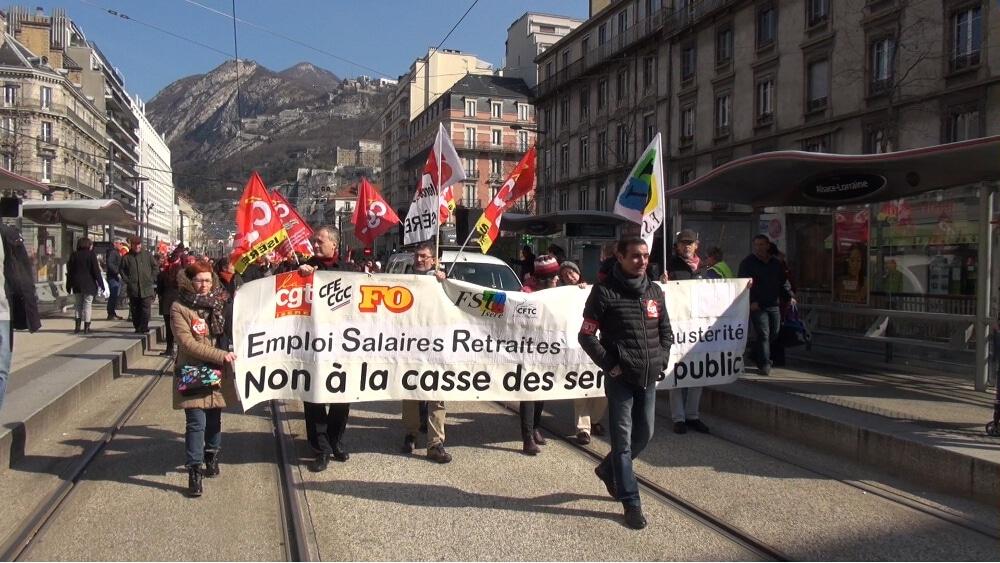 Manifestation de salariés de la fonction publique à Grenoble © Joël Kermabon - Place Gre'net