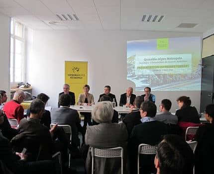 UNE Les promoteurs du projet Great réunis vendredi 2 mars 2018 au Totem. quartier général de la French Tech in the Alps. © Séverine Cattiaux - Placegrenet