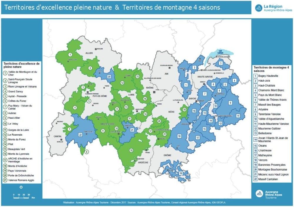La carte des Territoires d'excellence pleine nature et des Territoires de montagne 4 saisons définis par la Région. DR