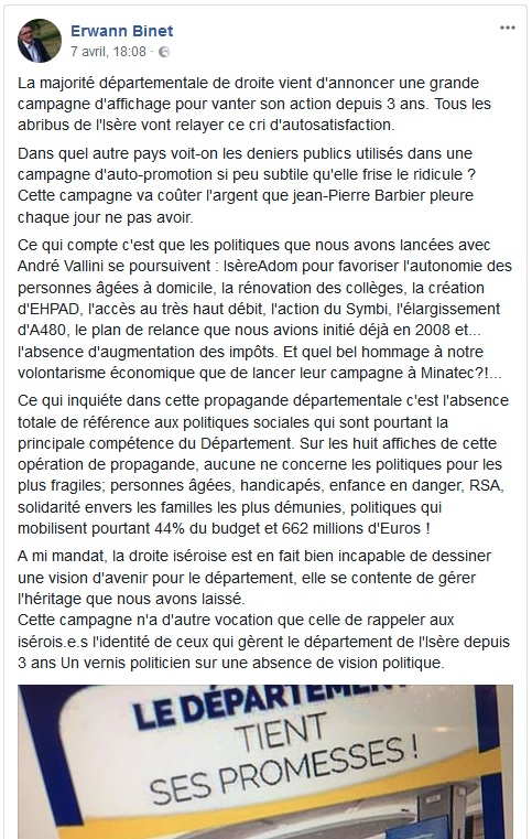 Message d'Erwann Binet, capture d'écran Facebook