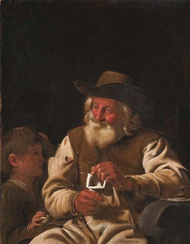 Un vieil homme tricotant avec un garçon à ses côtés de Michael Sweerts © Musée de Grenoble