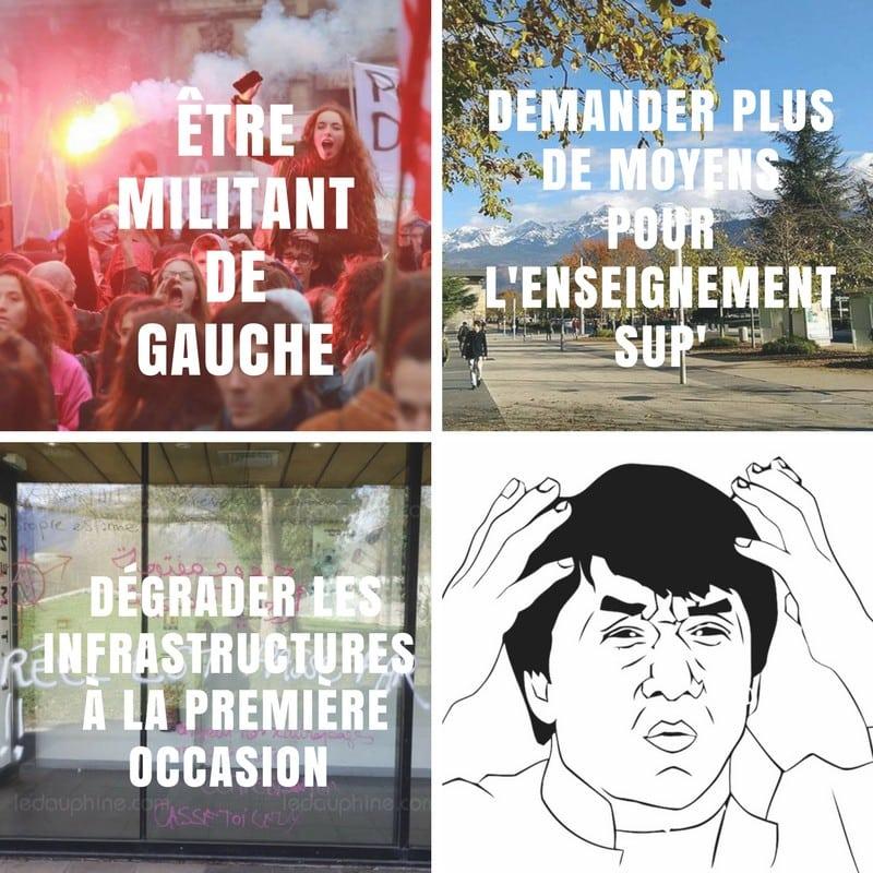 L'Uni moque les « militants de gauche » sur sa page Facebook. © Uni Grenoble