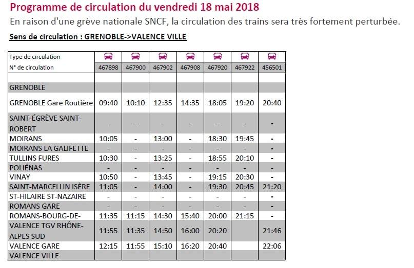 Les car de substitution et horaires disponibles pour la journée du 18 mai 2018.