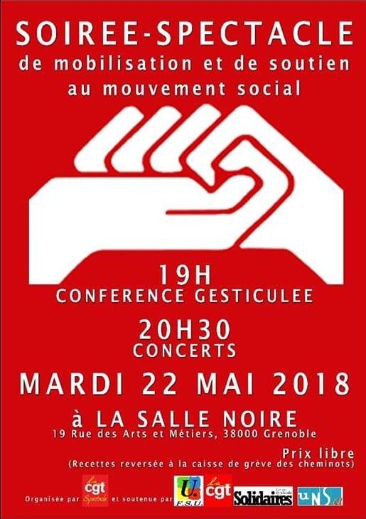 Affiche de la soirée de mobilisation à la Salle noire mardi 22 mai. DR