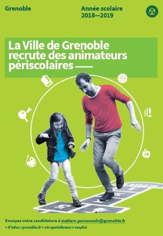 La Ville de Grenoble lance une communication de recrutement d'animateurs périscolaires pour ses écoles maternelles et élémentaires.
