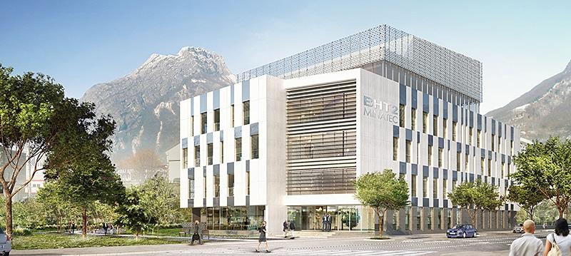 Vue artistique du futur BHT2 de Minatec Entreprises à proximité du campus Minatec de Grenoble. © FuturA