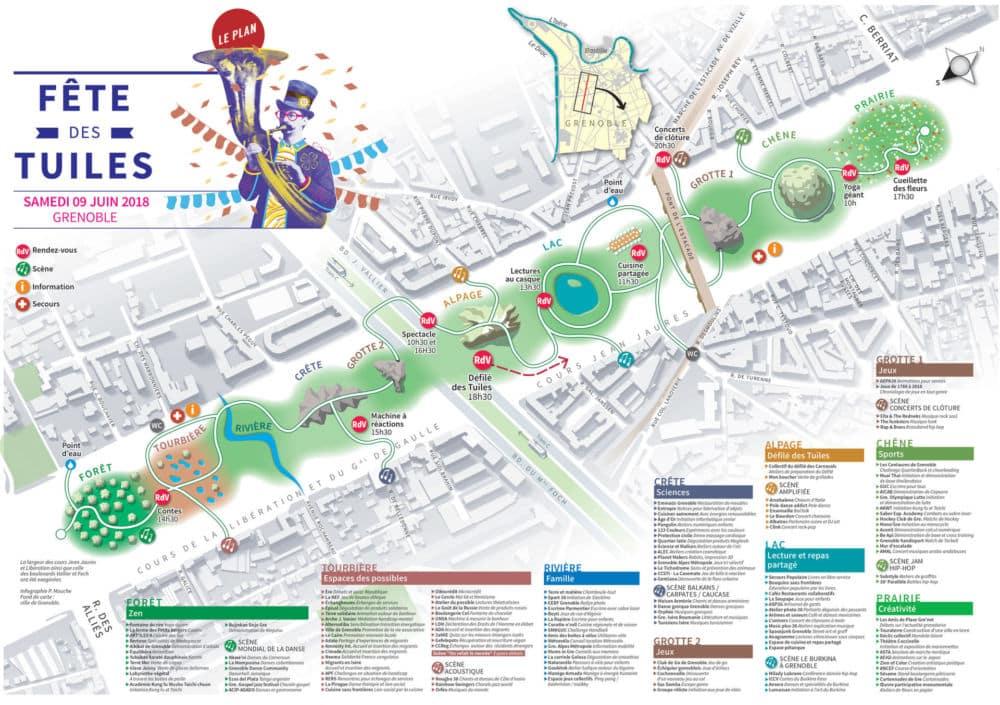 Carte avec les animations de la Fête des Tuiles 2018 à Grenoble.