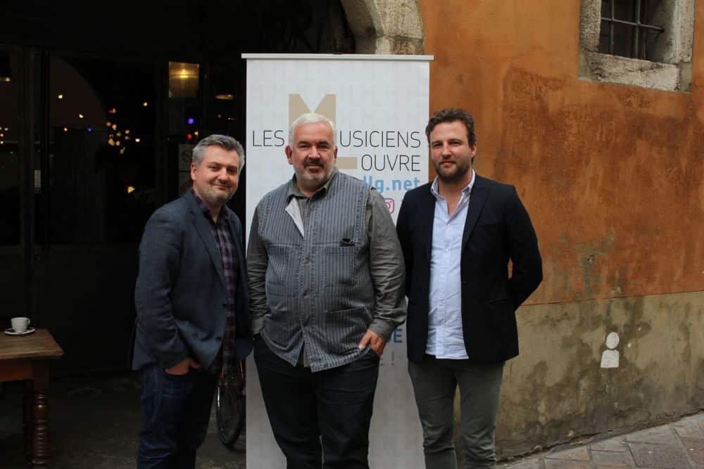 De gauche à droite : Thibault Noally, Marc Minkowski, David Dewaste © Emilan Tutot - Place Gre'net
