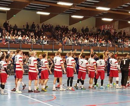 Le Grenoble - Saint-Martin-d'Hères (GSMH)-Guc handball lors d'un match à domicile de la saison 2017-2018. © GSMH-Guc