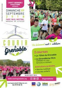 L'affiche de l'édition 2018 de Courir à Grenoble dont l'épreuve du 10 km a été annulée et celle du 5km de La Grenobloise reportée DR
