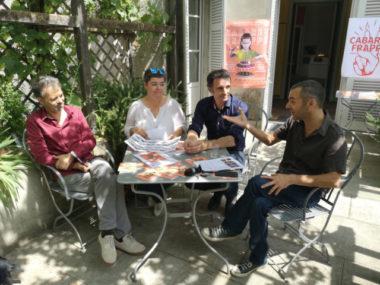 De gauche à droite : Loran Stahl, Corinne Bernard, Éric Piolle et Olivier Bertrand lors de la présentation du Cabaret frappé. © Joël Kermabon - Place Gre'net