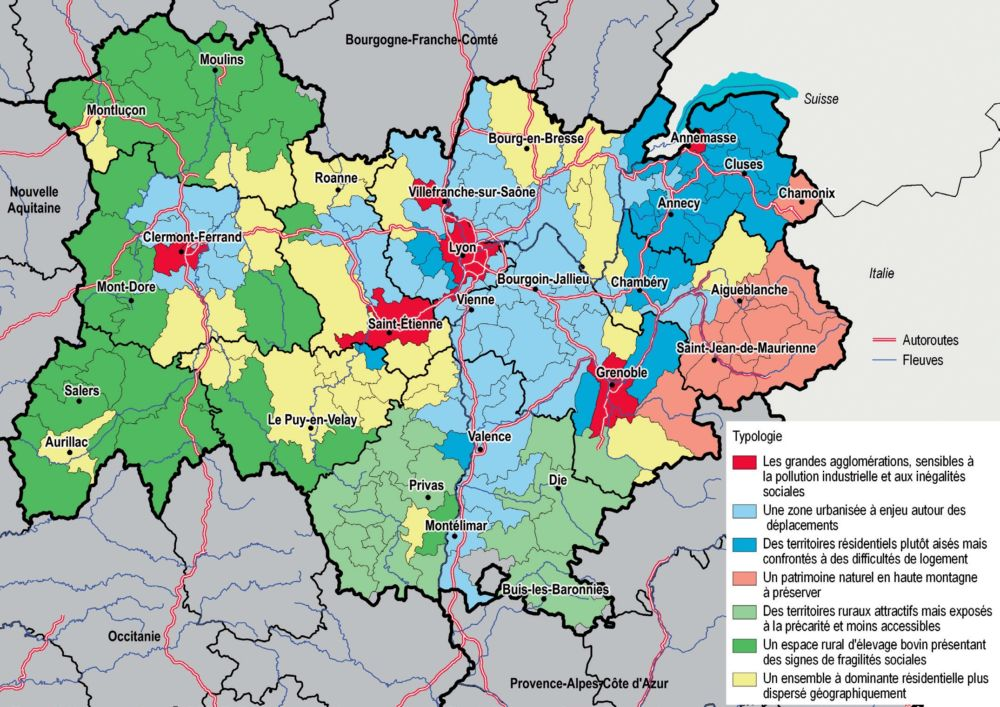 La carte des territoires répartis en sept catégories par l'INSEE © INSEE Auvergne-Rhône-Alpes