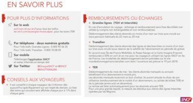 Lettre d'information envoyée aux usagers SNCF pendant la grève