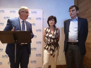 De gauche à droite : Jean-Pierre Barbier, Chantal Carlioz et Patrick Curtaud. © Joël Kermabon - Place Gre'net