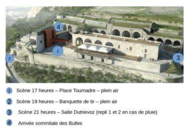 """Plan des lieux du festival de théâtre en plein air """"A la Bastille !"""""""