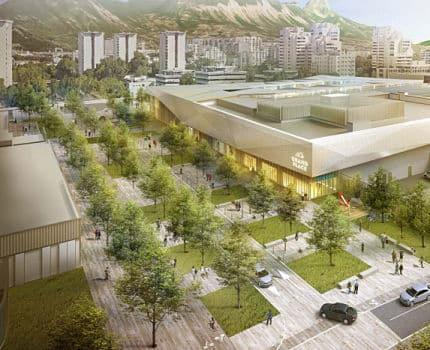 Illustration du projet d'extention, de rénovation et de requalification du centre commercial Grand'place situé sur Echirolles et Grenoble. Début des travaux en 2020. Crédit L35 et C. Pedrotti