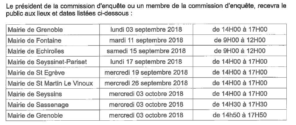 Tableau des permanences de la commission d'enquête. © Préfecture de l'Isère