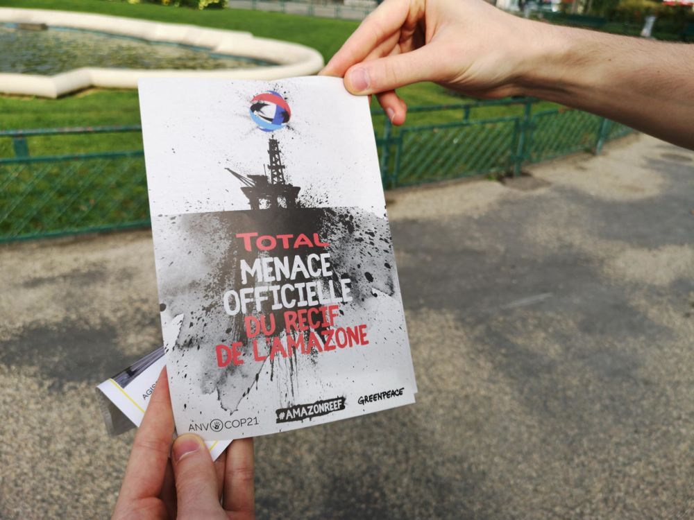 Un message sans ambiguïtés pour dénoncer le projet de Total © Joël Kermabon - Place Gre'net