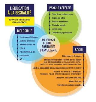 Les trois champs de connaissances et de compétences à l'éducation à la sexualité © Ministère de l'éducation nationale