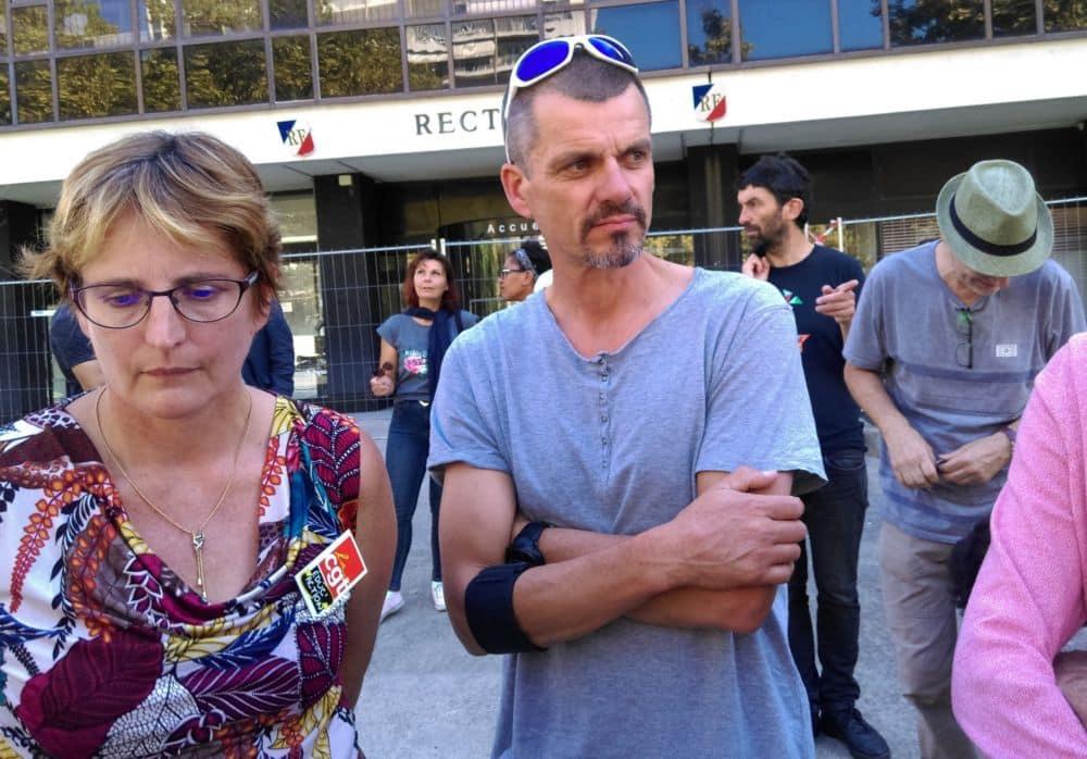 Nathalie Geldhof (CGT Éduc'action) et Yann Queinnec (Snep-FSU) © Florent Mathieu - Place Gre'net