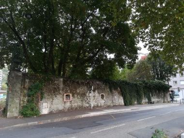Quel avenir pour le parc Tarze, pollué ? Les habitants souhaiteraient le dépolluer. La Sem Innovia et la Ville projettent d'y construire trois bâtiments. Ici le mur de l'ancien abattoir. DR