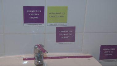 Des affichettes dispensent quelques conseils utiles. © Joël Kermabon - Place Gre'net