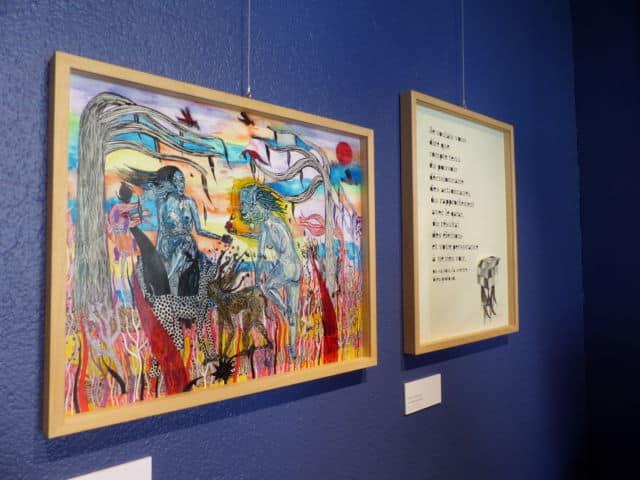 De gauche à droite, les œuvres de Margaux Salmi et de Petite poissone © Adèle Duminy