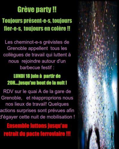 Affiche de la « Grève Party » organisée par Sud Rail le 18 juin en gare de Grenoble. © Sud Rail