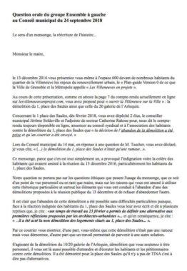 """Texte de la """"Question orale"""" du groupe politique Ensemble à Gauche. Prévue pour le conseil municipal du 24 septembre 2018, elle a été refusée par la Ville de Grenoble."""