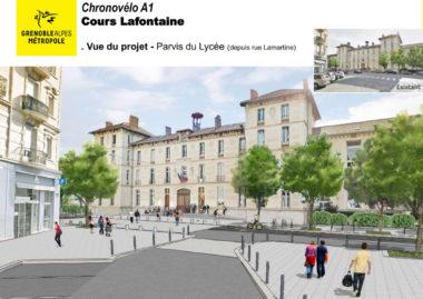 L'UHCV alerte contre les conflits d'usage et les dangers potentiels que pose la mise en service d'autoroutes à vélos en centre-ville à Grenoble.Esquisse du projet de Chronovélo, piste bidirectionnelle, passant sur le Cours Lafontaine, parvis du Lycée Champollion à Grenoble. DR