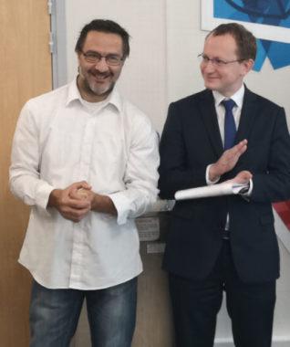 De gauche à droite : Karim Chamon,et Charles Barbier. © Joël Kermabon - Place Gre'net