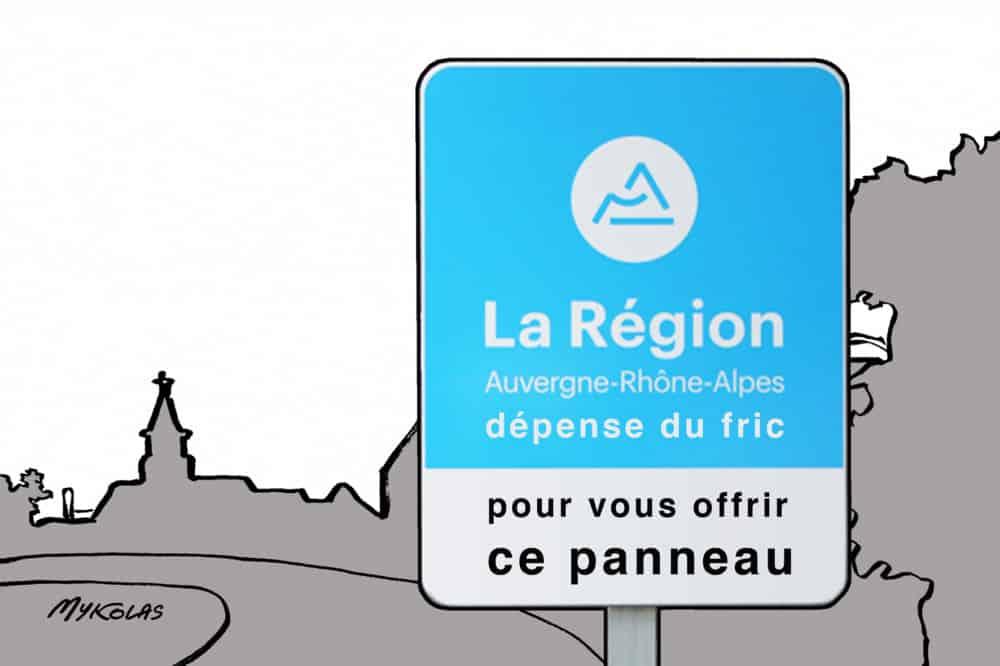Le dessinateur satirique Mykolas moque les panneaux imposés par la Région aux communes ayant perçu une aide régionale © Mykolas