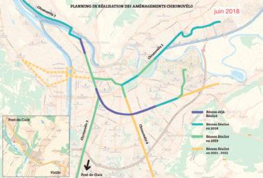 Planning de réalisation des aménagements du Plan Chronovélo version juin-juillet 2018 DR