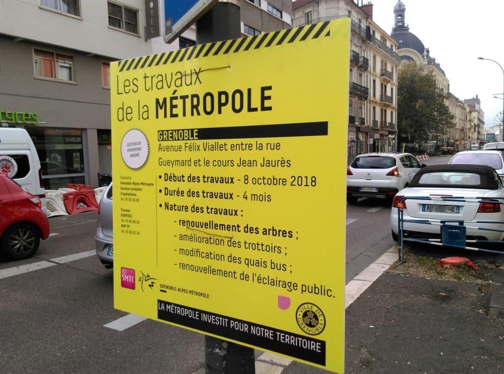 L'intitulé des travaux de la Métropole. Des riverains se plaignent surtout d'un défaut d'informations © Florent Mathieu - Place Gre'net