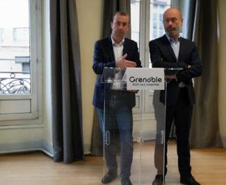Matthieu Chamussy et Stéphane Gemmani lors de l'annonce de leur coalition. © Joël Kermabon - Place Grfe'net