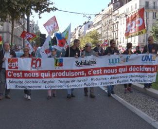 De 2 000 à 3 000 personnes ont manifesté ce 9 octobre à Grenoble contre ce qu'elles considèrent comme la casse du modèle social par le gouvernement Philippe© Joël Kermabon - Place Gre'net