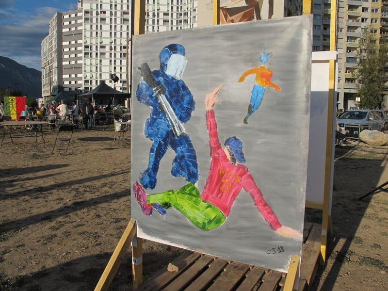 Urban expo, oeuvre collective sur le geste pour la semaine de la non violence à la Villeneuve © Séverine Cattiaux - Place Gre'net