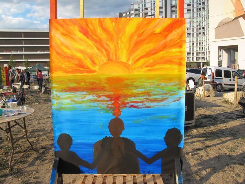 Urban expo, oeuvre collective sur le thème du geste pour la semaine de la non violence à la Villeneuve © Séverine Cattiaux - Place Gre'net
