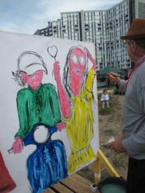Urban expo, le tableau bleu 2, oeuvre collective pour la semaine de la non violence à la Villeneuve © Séverine Cattiaux - Place Gre'net
