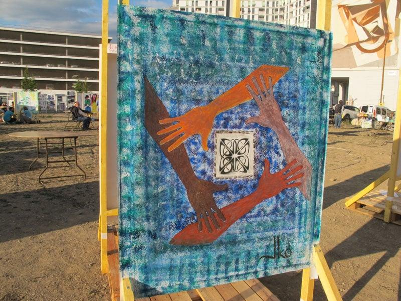 Urban expo carré 2, oeuvre collective pour la semaine de la non violence à la Villeneuve © Séverine Cattiaux - Place Gre'net