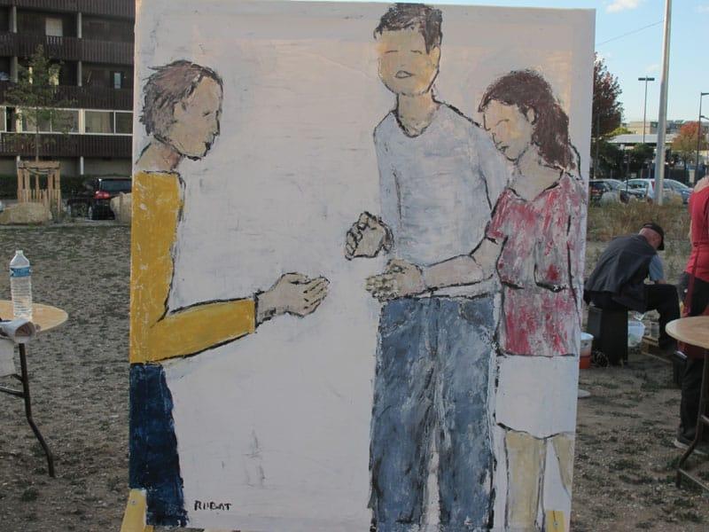 Urban expo Geste 2, oeuvre collective pour la semaine de la non violence à la Villeneuve © Séverine Cattiaux - Place Gre'net