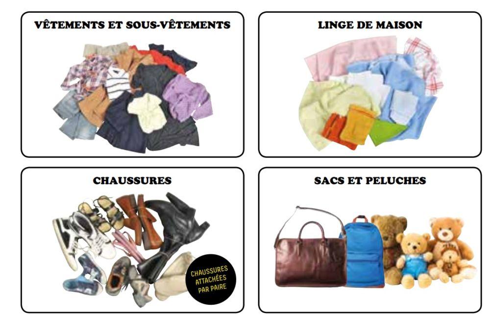 Les textiles acceptés dans le cadre de l'opération © Grenoble Alpes Métropole