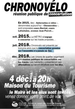 Affiche de la réunion publique de concertation sur le plan Chronovélo organisée par le Cluq. DR