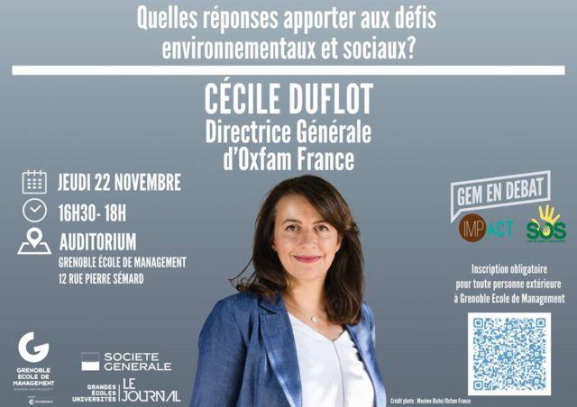 Visuel de la conférence de Cécile Duflot. © Grenoble École de management
