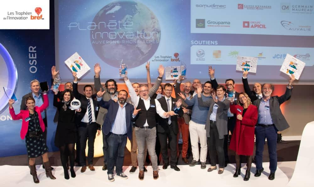 Les lauréats et partenaires des Trophées Bref Eco de l'Innovation 2018 © Bref Éco